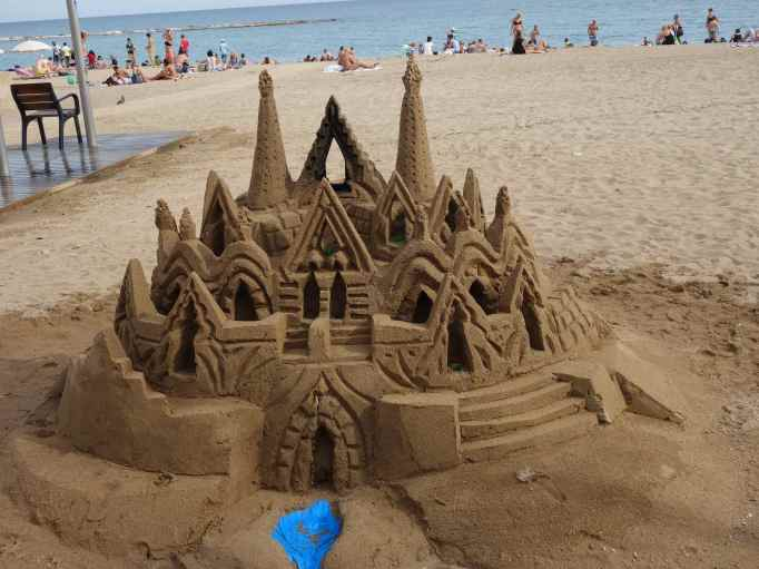 We can walk to the beach where the sand castles are terrific!