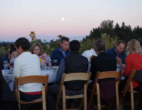 Tasty food, fine wine, convivial company, gentle sunlight combine for a delightful evening, just before sunset, among the guests.