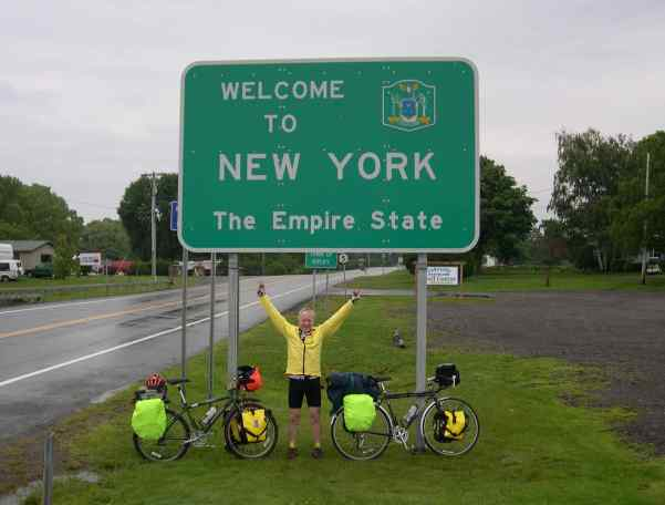 Papa looks pretty happy to have made it from Erie, Pennsylvania all the way to New York — the state, not the city.