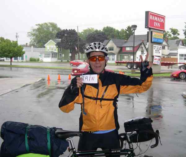 Papa said their bike trip took 14 days, and they had rainy days the first seven. This is day two.
