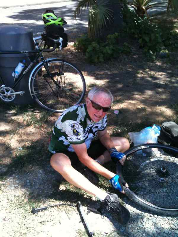 However, Papa may be setting a record for most flat tires on a bike tour.  I saw a lot of photos like this one.