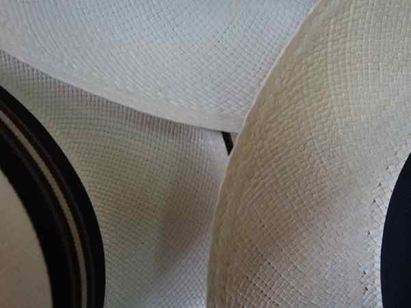 Did you know that Panama hats come in a wide range of quality and might cost anywhere from $20 to $3000 or more? These 3 hats show different quality weaving patters; the smaller and tighter the pattern the higher quality.