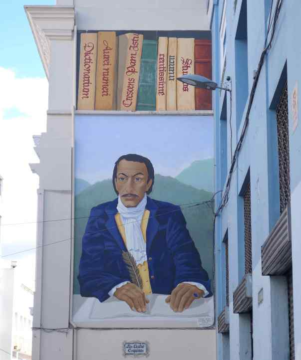An artist painted a mural of a famous author. I have to ask Nona who the author was.