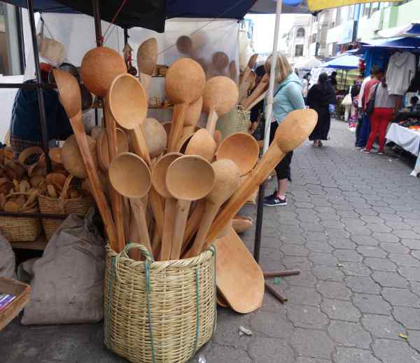 "Those are hand made wooden spoons — ""cucharas de madera"" — and hiding behind those spoons is our friend, Jo."