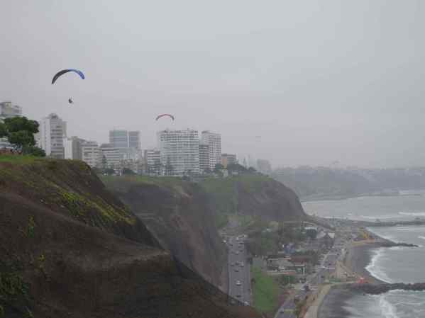 You have choices when paragliding in Miraflores -- get close up to the high-rise buildings or take an excursion out over the ocean.