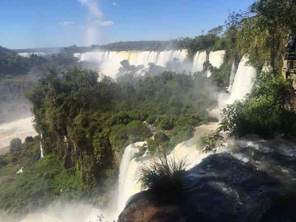 """Iguazu"" is a word that is formed from 2 native words meaning ""big"" and ""water."" Iguazu Falls is Big Water, for sure."